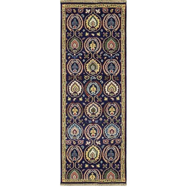One-of-a-Kind Kazak Handwoven Wool Navy Indoor Area Rug