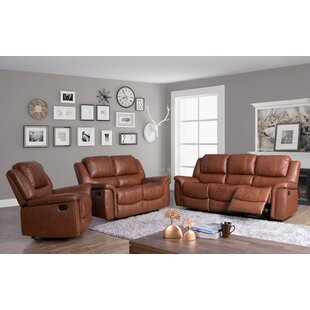 Keziah Genuine Leather Reclining Living Room Set by Darby Home Co