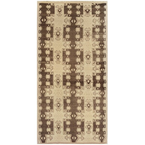 One-of-a-Kind Turkish Quality Hand-Knotted Wool Brown/Beige Indoor Area Rug by Mansour