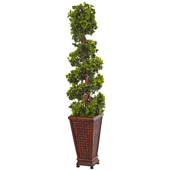 Artificial English Floor Ivy Topiary in Rectangular Planter by Fleur De Lis Living