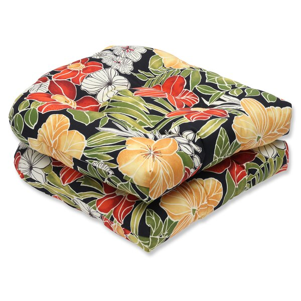 Clemens Noir Indoor/Outdoor Dining Chair Cushion (Set of 2) by Pillow Perfect