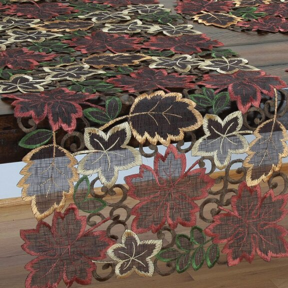 Dainty Leaf Embroidered Cutwork Harvest Table Runner by Xia Home Fashions