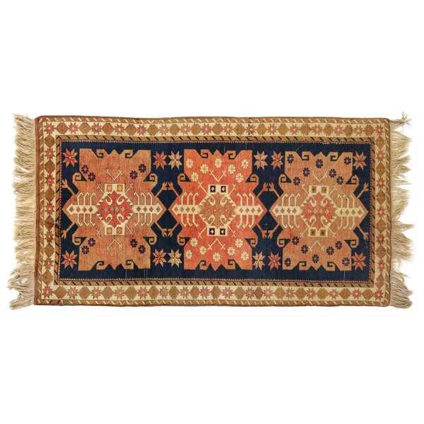 One-of-a-Kind Hand-Woven Wool Beige/Navy Area Rug by Exquisite Rugs