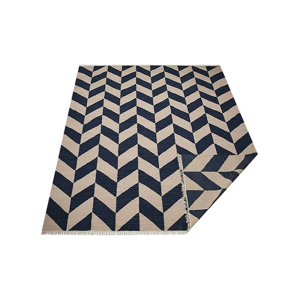 Milbrandt Handmade Kilim Wool Blue/Beige Area Rug by Wrought Studio