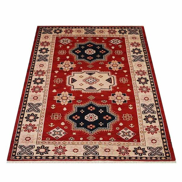 Auguste Oriental Kazak Hand-Knotted Wool/Silk Red/Cream Area Rug by Bloomsbury Market