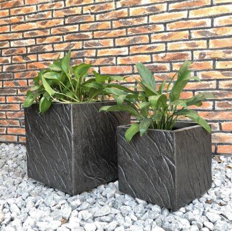Mcclendon Oblique Line Square 2-Piece Concrete Pot Planter Set by Union Rustic