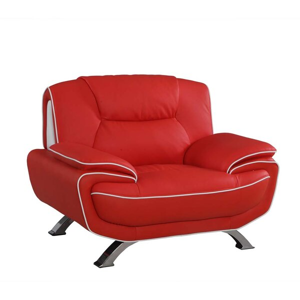 Larrabee Luxury Leather Match Upholstered Armchair by Latitude Run