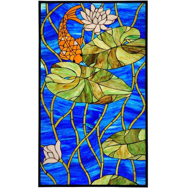 Koi Pond Lily Stained Glass Window by Meyda Tiffany