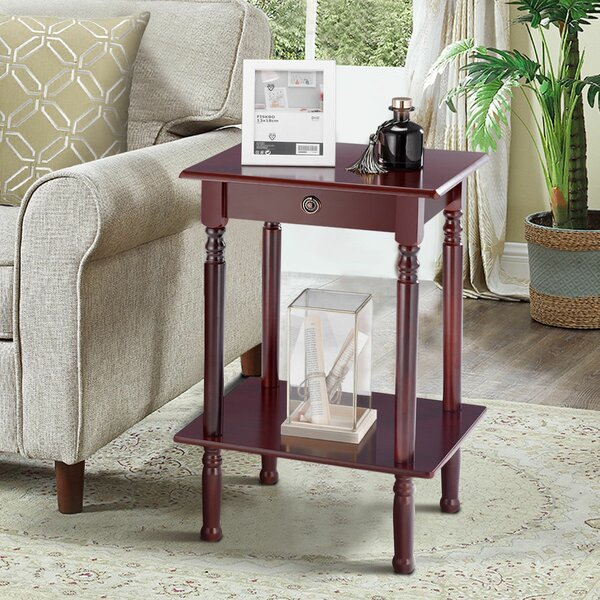 Everson Tall Wood Shelf End Table by World Menagerie