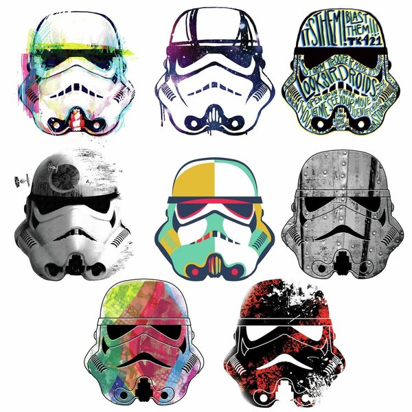 Star Wars Artistic Storm Trooper Heads Peel and Stick Wall Decal by Room Mates