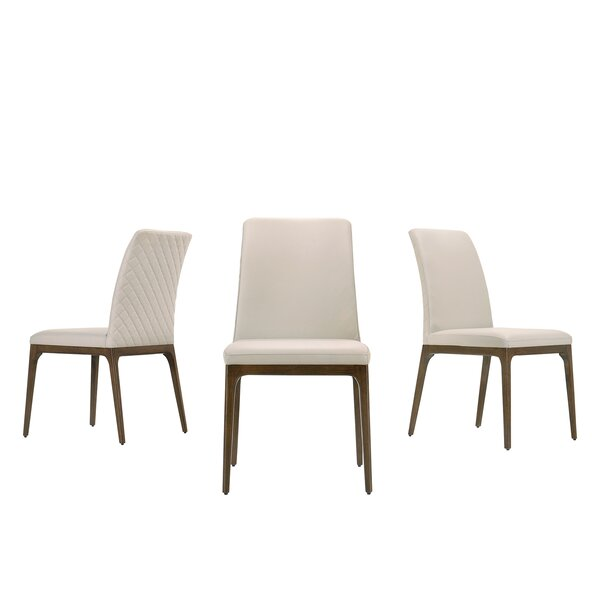 Bergquist Tufted Leather Upholstered Side Chair In Light Gray By Corrigan Studio