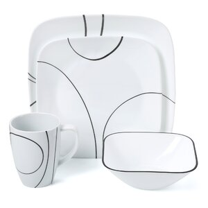 Simple Lines 16 Piece Dinnerware Set, Service for 4