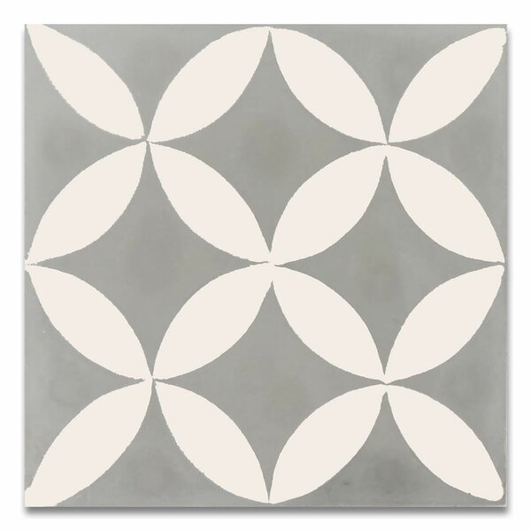 Amlo 8 x 8 Handmade Cement Tile in White and Gray by Moroccan Mosaic