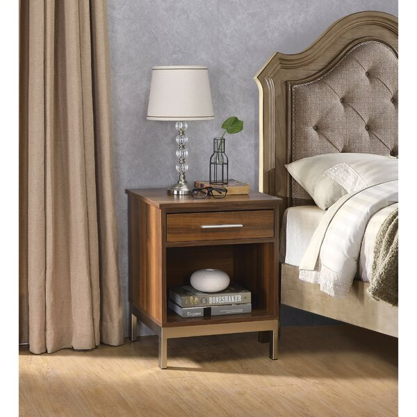 Trevin Spacious Wooden 1 Drawer Nightstand by Orren Ellis