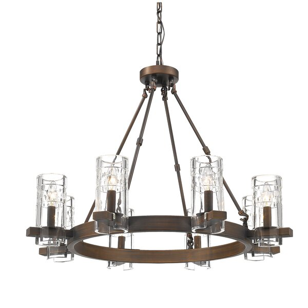 Khan 8 - Light Candle Style Wagon Wheel Chandelier By Union Rustic