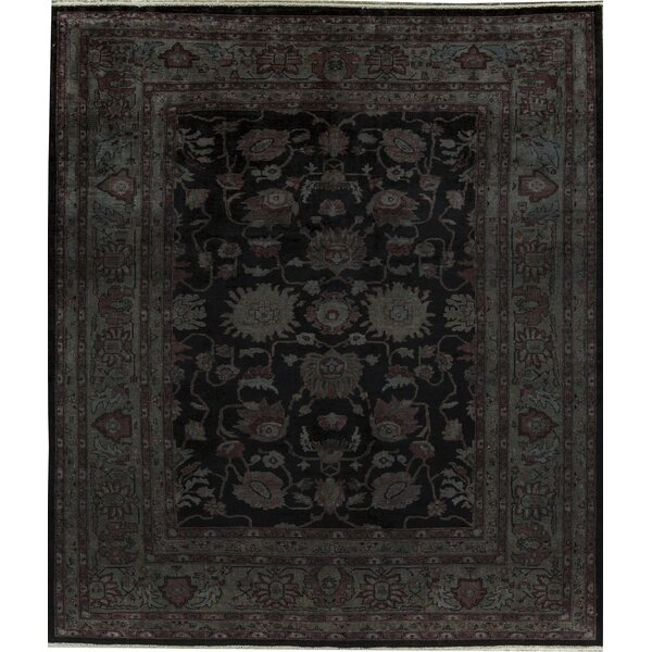 Oriental Hand-Knotted Wool Black Area Rug