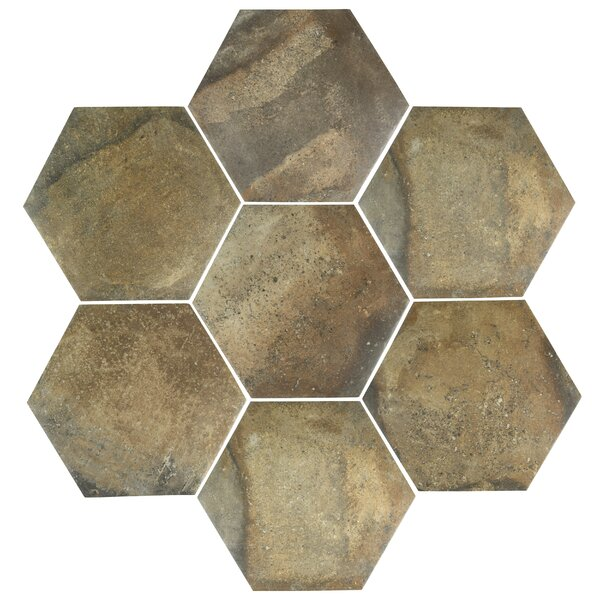 Victoria Ferro Hexagon 14.13 x 16.25 Porcelain Field Tile in Brown by EliteTile