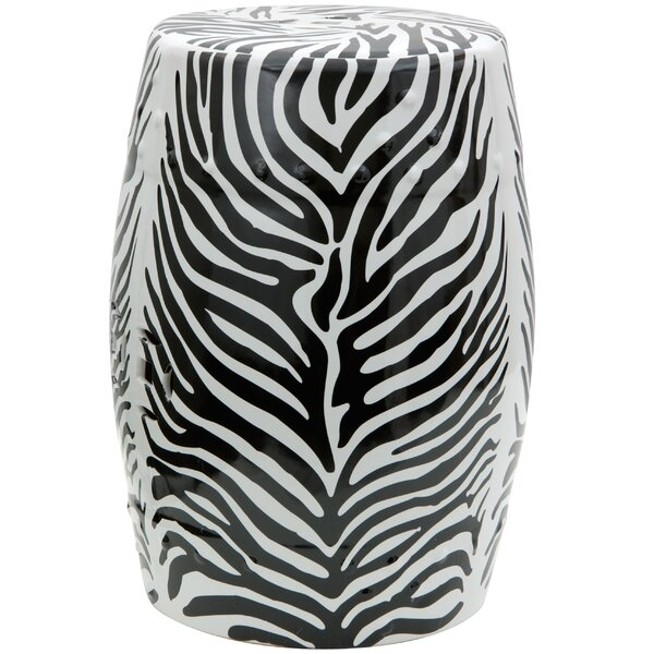 Zebra Leaf Porcelain Garden Stool by Oriental Furniture