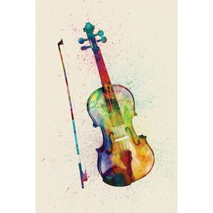 Musical Instrument Series: Violin Graphic Art on Wrapped Canvas by East Urban Home