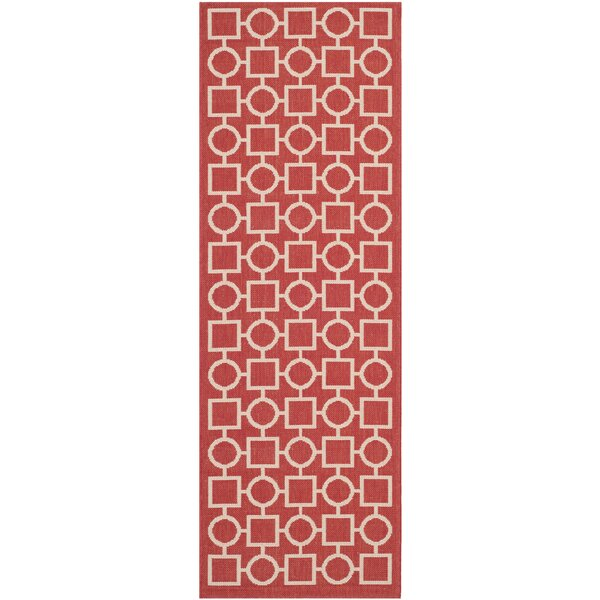 Jefferson Place Red/Bone Outdoor Area Rug by Wrought Studio