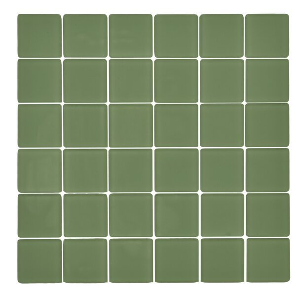 Traditional Glass 2 x 2 Mosaic Tile in Tortuga Green by Kellani