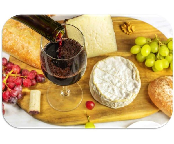 Wine and Cheese Print Slip-Resistant Foam 19 Placemat (Set of 8) by Dainty Home