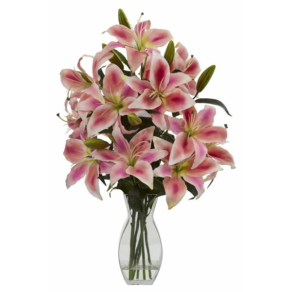 Rubrum Lily Floral Arrangement in Vase by Bay Isle Home