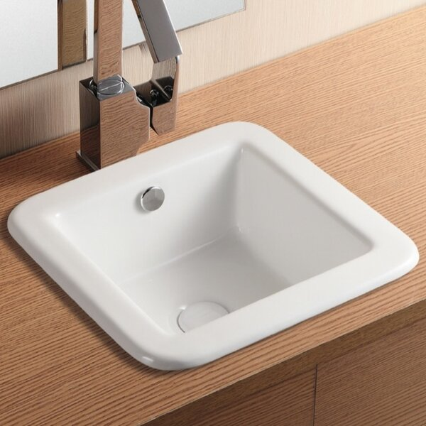 Ceramica II Ceramic Square Drop-In Bathroom Sink with Overflow by Caracalla