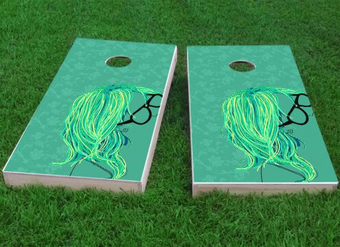 Girl with Glasses Cornhole Game (Set of 2) by Custom Cornhole Boards