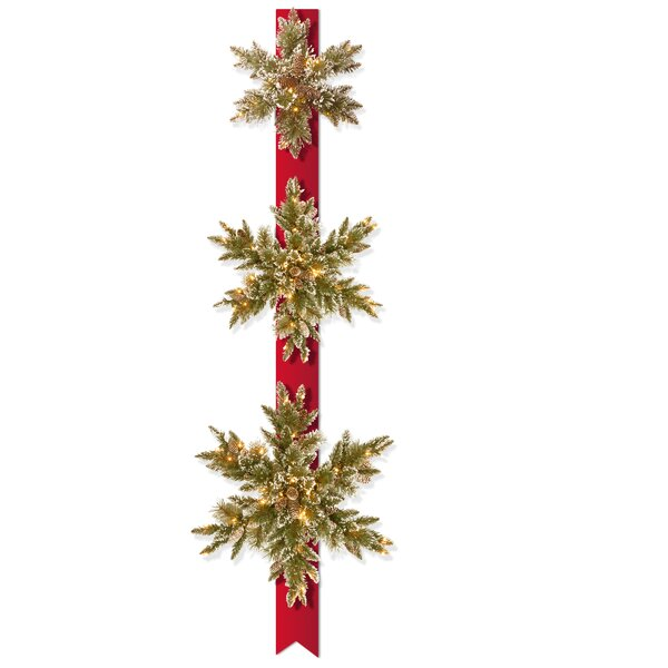 6 Foot Pre-Lit Pine Triple Faux Snowflake Garland by Darby Home Co
