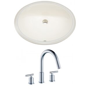 Price comparison Ceramic Oval Undermount Bathroom Sink with Faucet and Overflow ByAmerican Imaginations