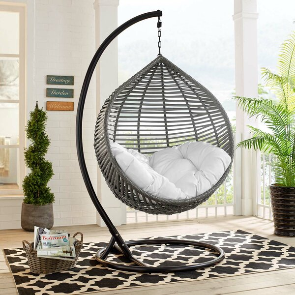 Chenery Teardrop Outdoor Swing Chair with Stand by Bungalow Rose