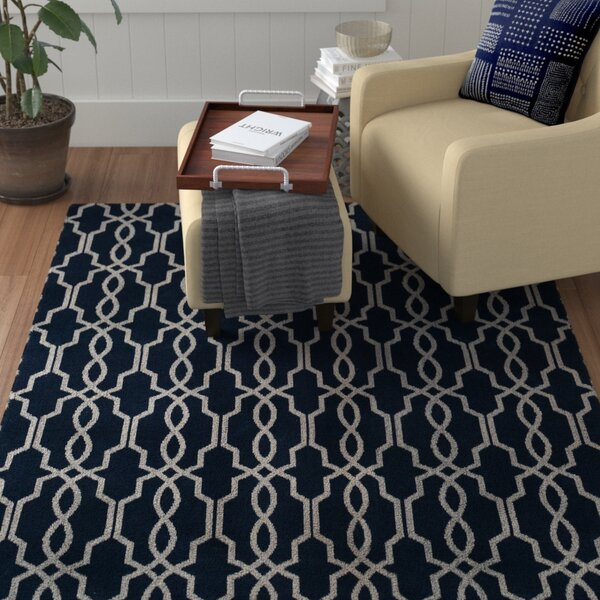 Pearle Hand-Woven Navy Area Rug by Red Barrel Studio