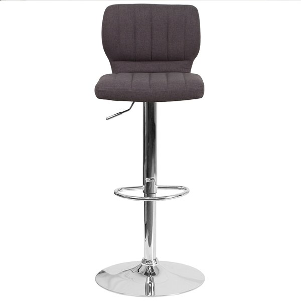Rouillard Adjustable Height Swivel Bar Stool by Wrought Studio