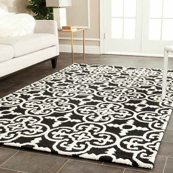 Darla Black/Ivory Wool Area Rug by Winston Porter