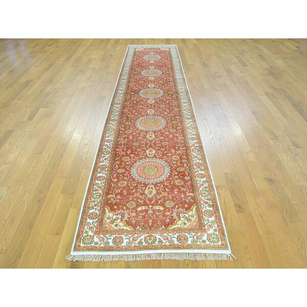 One-of-a-Kind Bledsoe Esfahan Hand-Knotted Red Silk Area Rug by Isabelline