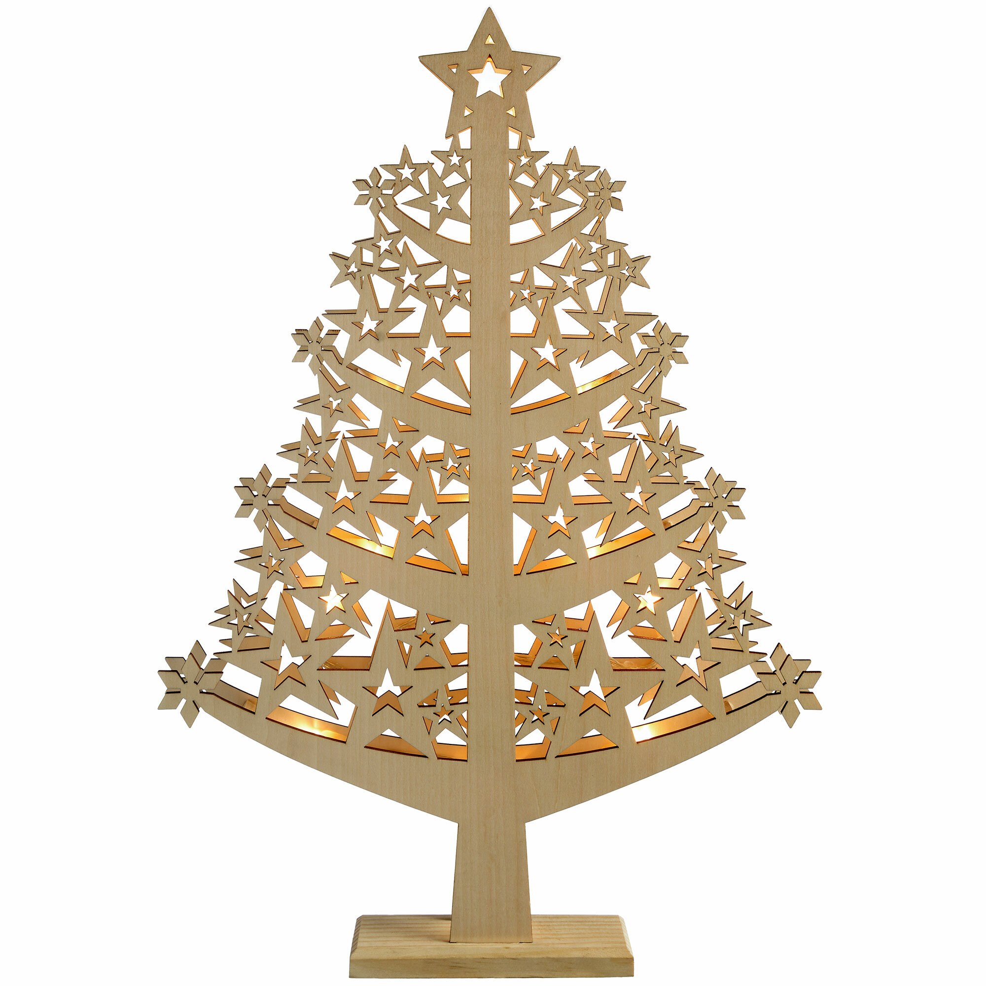 Wood Christmas Decorations.Pre Lit Star Wood Christmas Tree Table Decoration