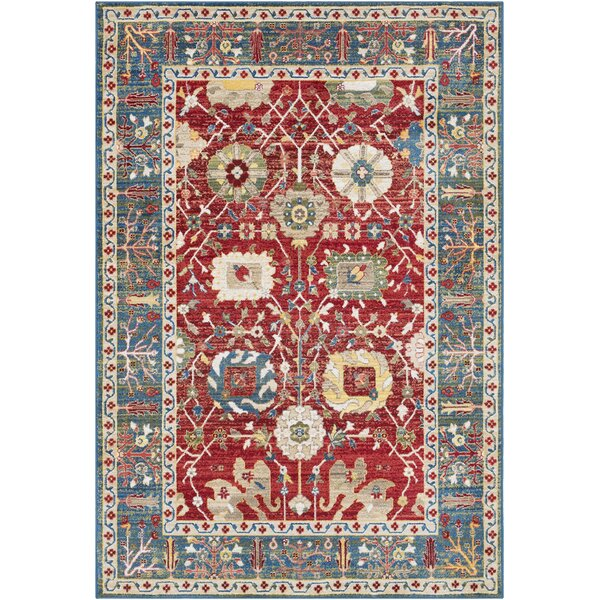 Arbouet Traditional Floral Rectangle Cream/Red Area Rug by Charlton Home