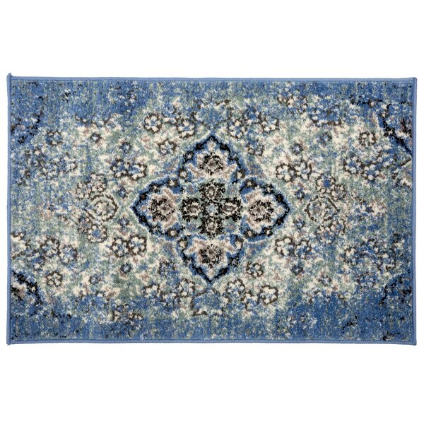 Milana Distressed Oriental Design Blue/Beige Area Rug by Bungalow Rose