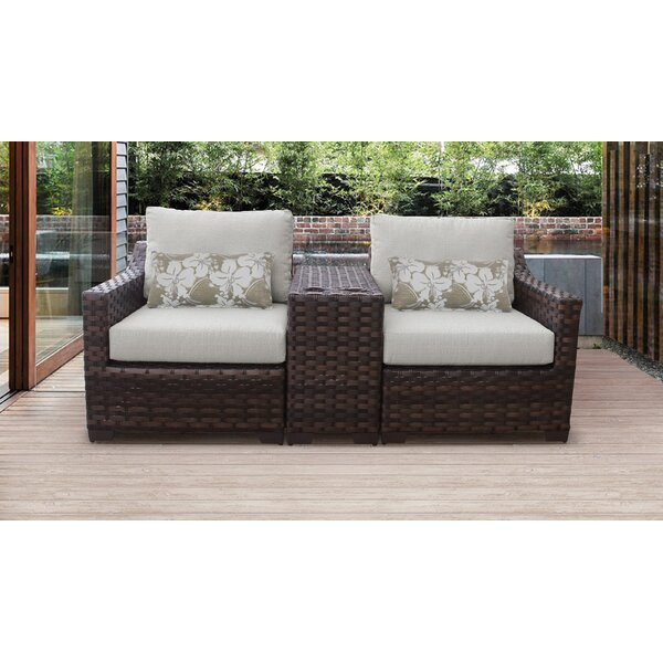 kathy ireland Homes & Gardens River Brook 3 Piece Outdoor Wicker Patio Furniture Set 03b by kathy ireland Homes & Gardens by TK Classics