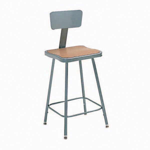 Height Adjustable Steel Hardboard Square Seat Stool with Backrest by Nexel