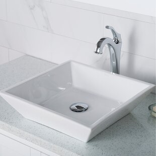 Best Elavo Square Vessel Bathroom Sink with Faucet By Kraus