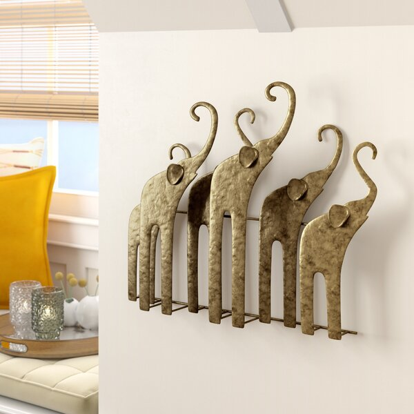 Gold Elephants Sculpture Wall Décor by World Menagerie