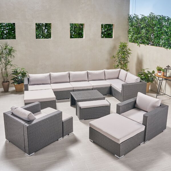 Guccione Outdoor V Shaped 13 Piece Sectional Seating Group with Cushions by Orren Ellis