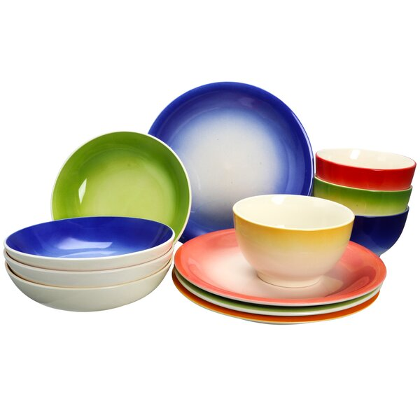 Khan 12 Piece Dinnerware Set, Service for 4 by Ebern Designs