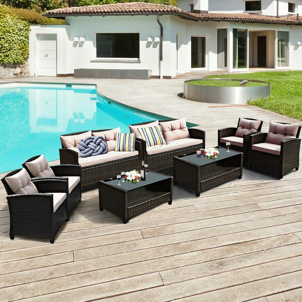 Goberman 8 Piece Rattan Sofa Seating Group with Cushions by Ebern Designs