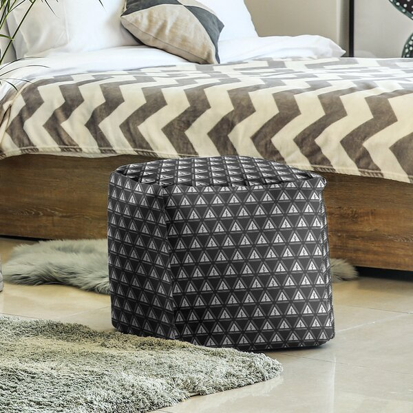 Two Color Minimalist Trees Cube Ottoman by East Urban Home