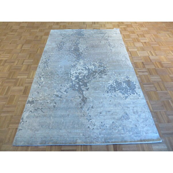 One-of-a-Kind Dickison Modern Broken Hand-Knotted Wool Gray Area Rug by 17 Stories