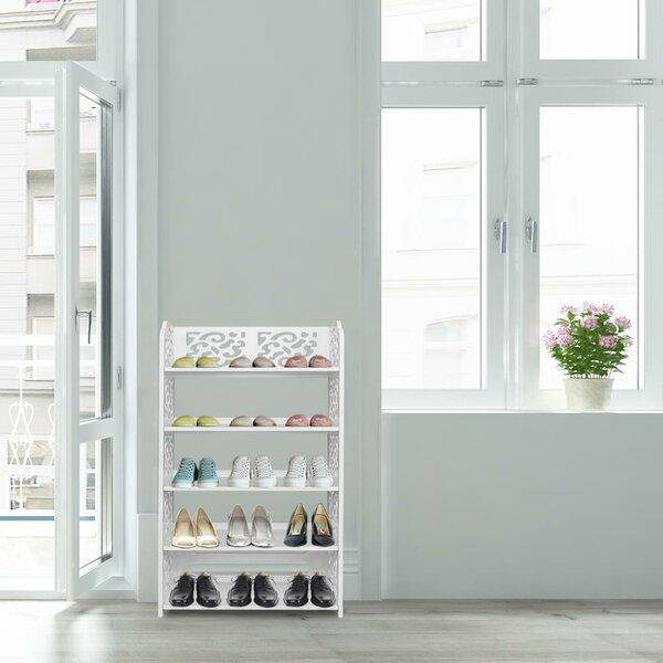 5-Tier Corner Organizer Standing Shelf Space Saving 15 Pair Shoe Rack