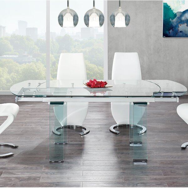 Modern Wilcox Extendable Dining Table By Wade Logan 2019 Coupon